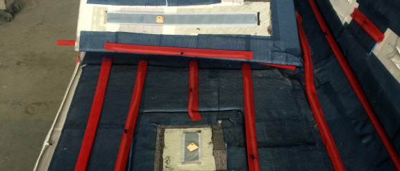 Infusione farr 80; Infusione coperta custom; Infusione carbonio; Safir Jahte; Deck infusion; Custom deck; carbon deck