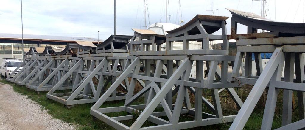 Officine TL Compositi; fibra di carbonio Friuli; compositi; compositi Italia; Invasi imbarcazioni a vela; Invasi yacht; Sailboat craddle, Yacht craddle