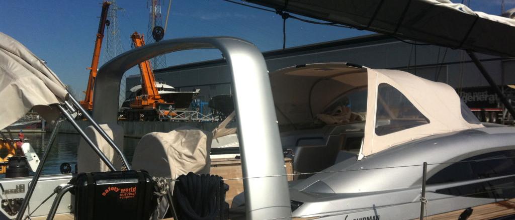 compositi Italia; Shipman 72; mani arch; refitting shipman 72; main arch installation; sailboat; Carbon yacht; custom