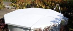 Officine TL Compositi; fibra di carbonio Friuli; compositi; compositi Italia; Coperchio rigido autosvuotante piscina; Copertura materiale compositi; Copertura autoportante piscina esterna